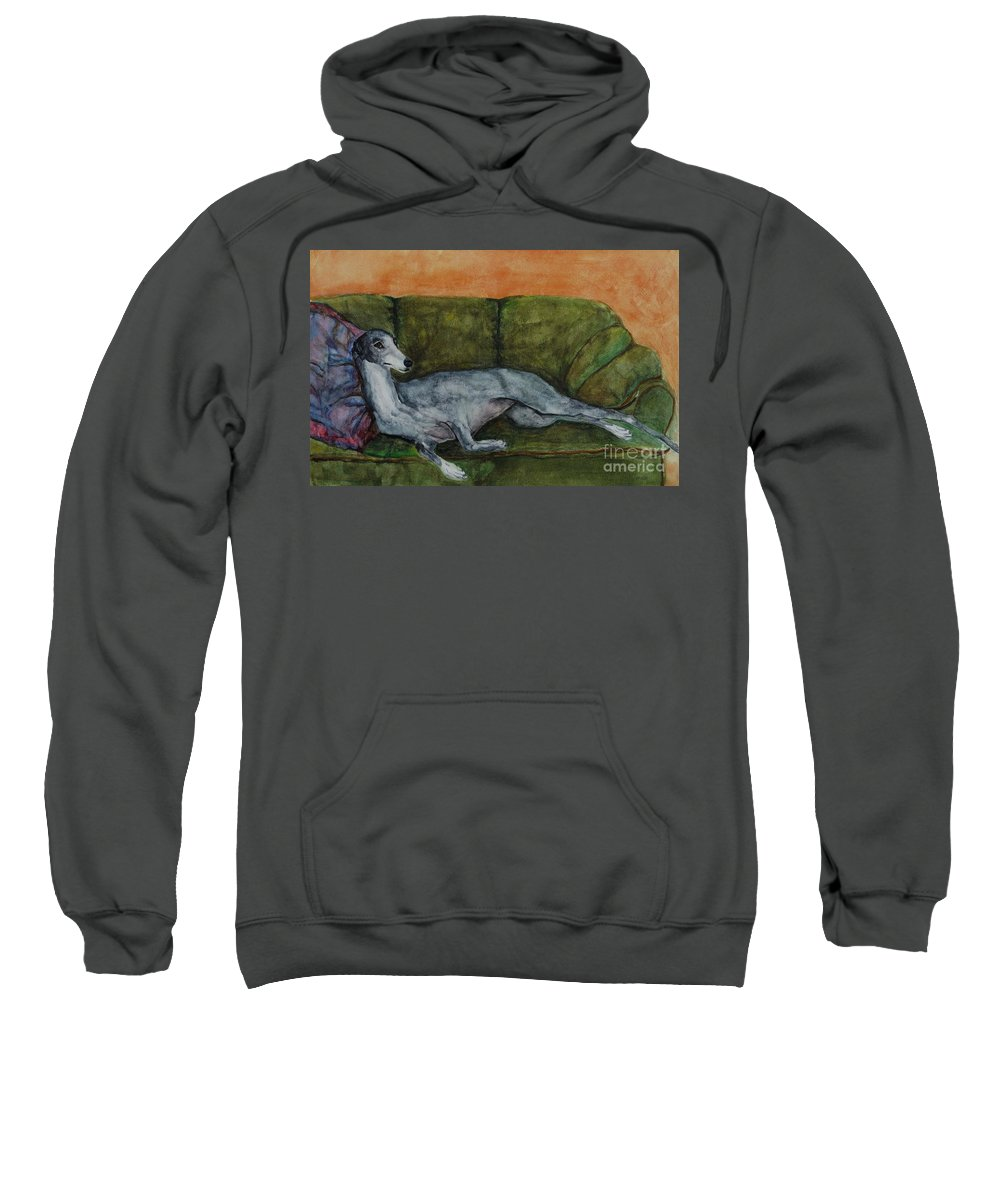Greyhounds Sweatshirt featuring the painting The Couch Potatoe by Frances Marino