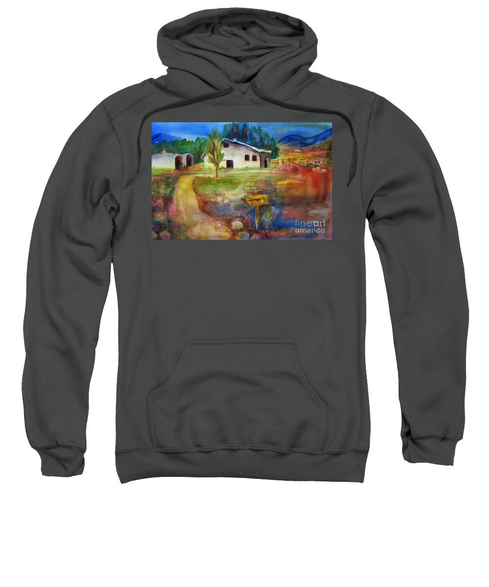 Country Barn Sweatshirt featuring the painting The Country Barn by Frances Marino