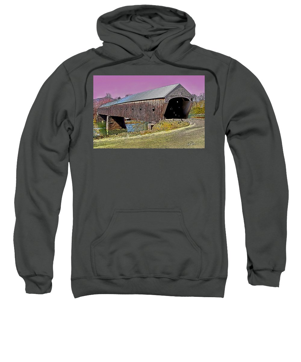 Landscape Sweatshirt featuring the photograph The Covered Bridge by Nancy Griswold