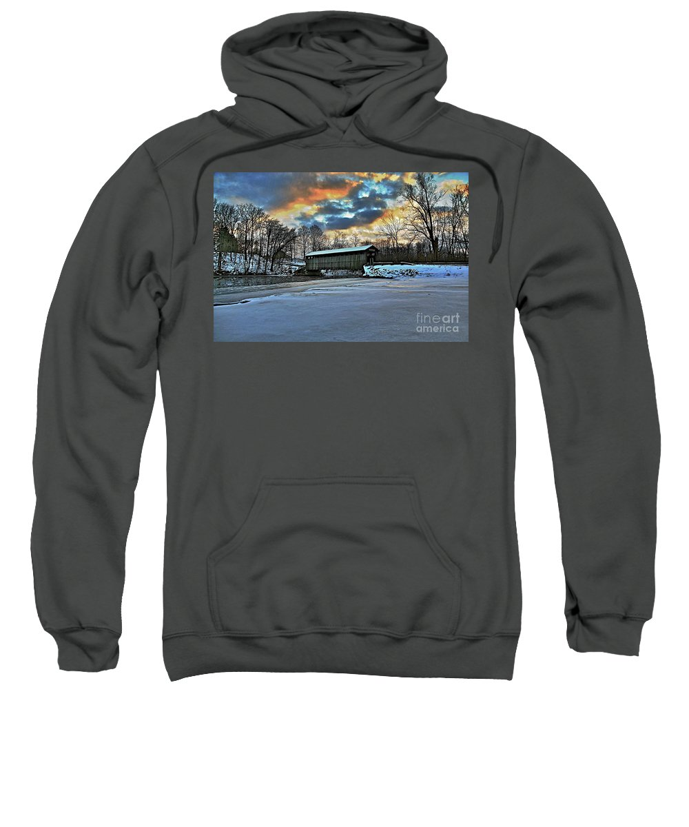 Covered Bridge Old Lumber 1870s Art Snow Winter Landscape Artistic Sweatshirt featuring the photograph The Covered Bridge by Robert Pearson