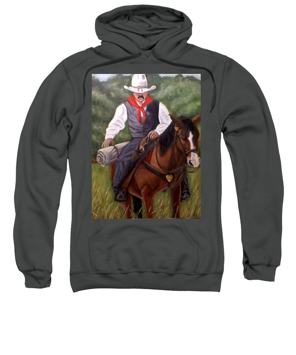 Portrait Sweatshirt featuring the painting The Cowboy by Toni Berry