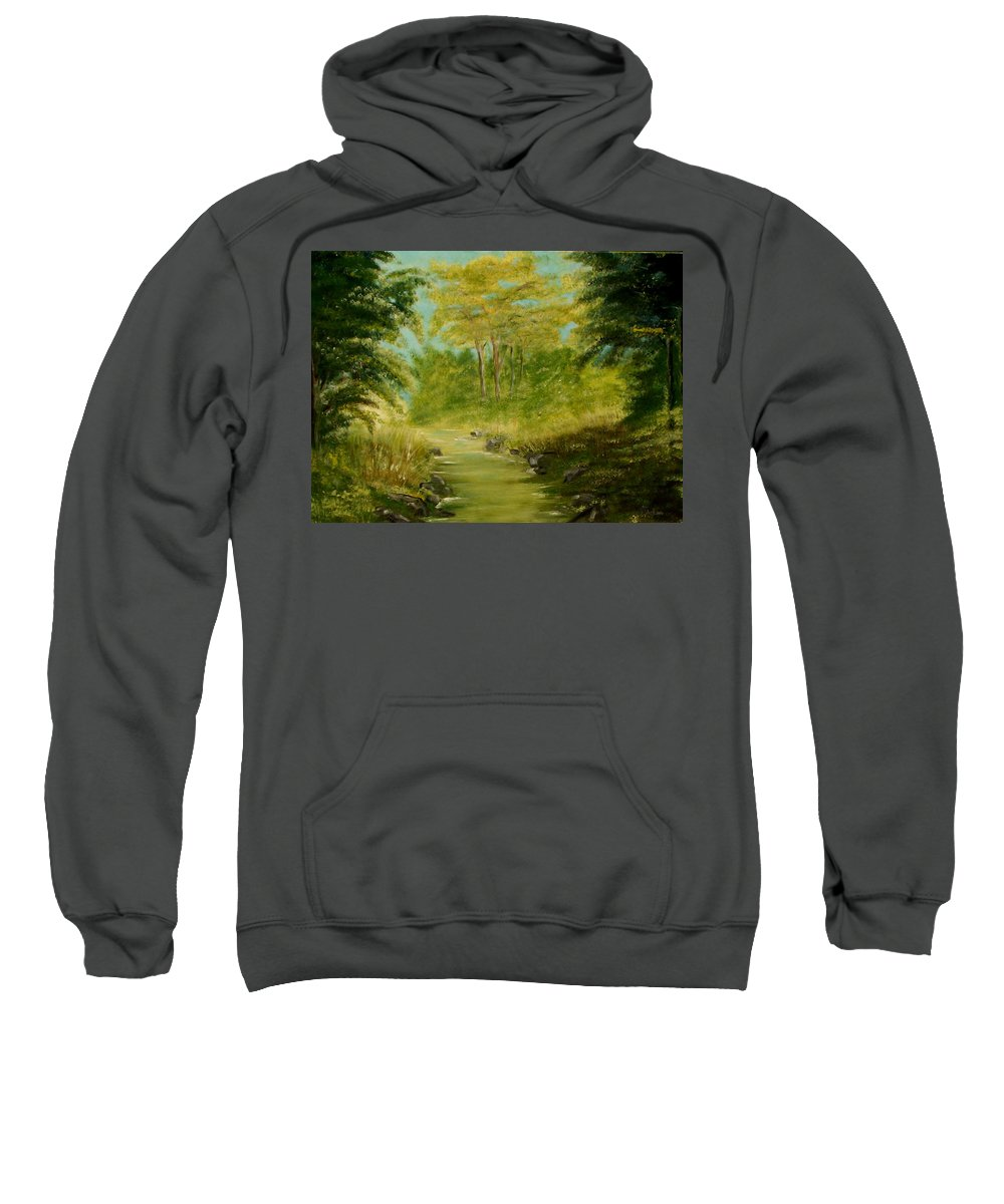 Water River Creek Nature Trees Landscape Sweatshirt featuring the painting The Creek by Veronica Jackson