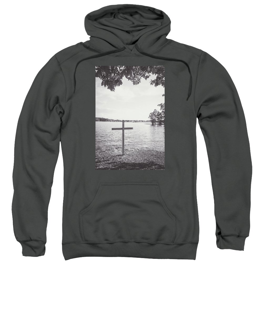 Cross Sweatshirt featuring the photograph The Cross On The Water by Meg Porter
