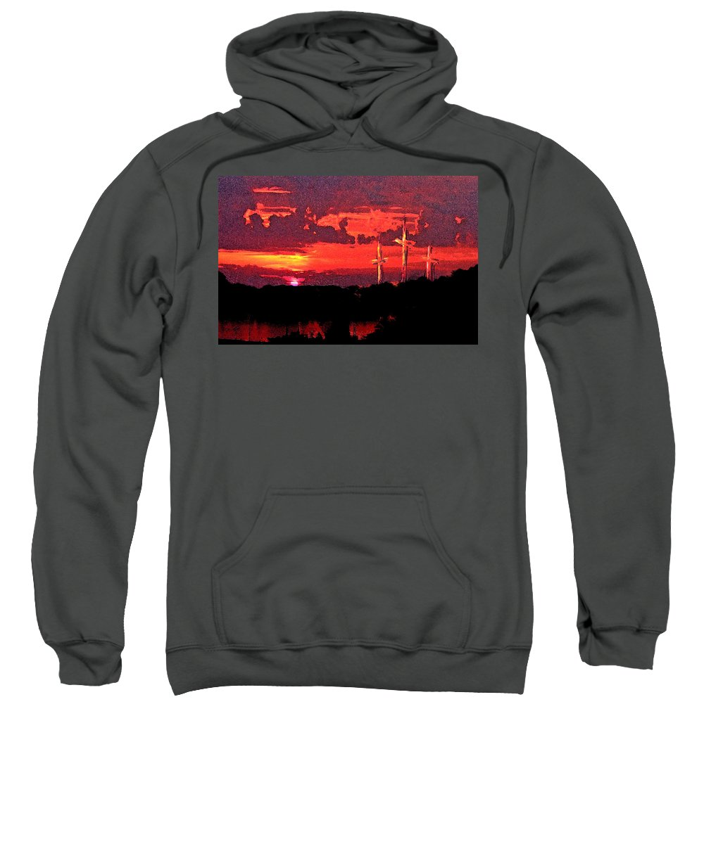 Abstract Sweatshirt featuring the painting The Crucifixtion by Rachel Christine Nowicki
