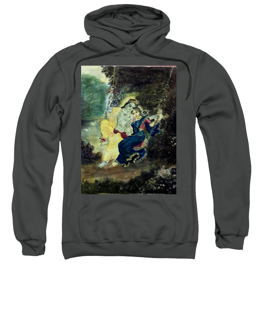 Swing In The Garden Sweatshirt featuring the painting The Dainty Jhoola by Jayasree Anand