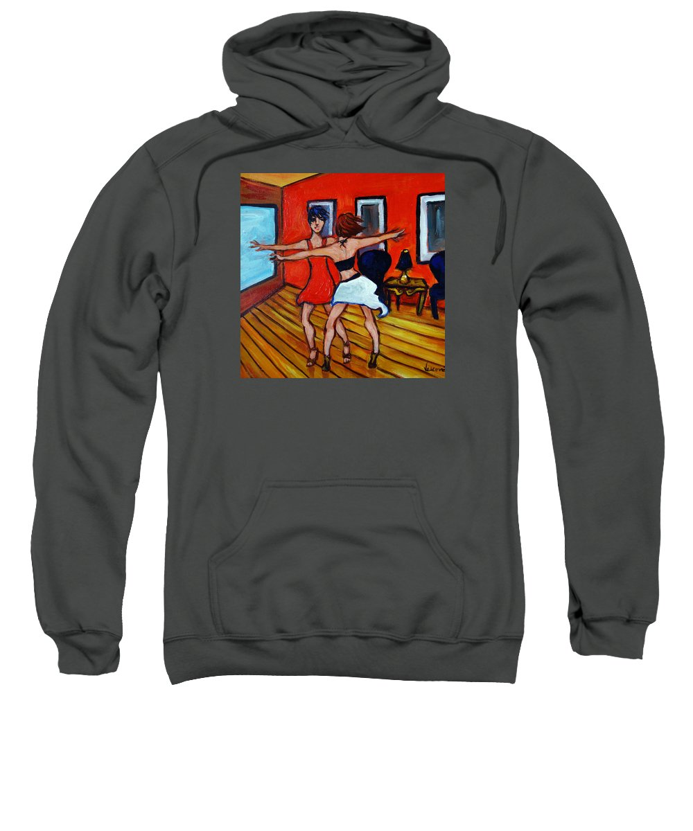 Dancers Sweatshirt featuring the painting The Dancers by Valerie Vescovi