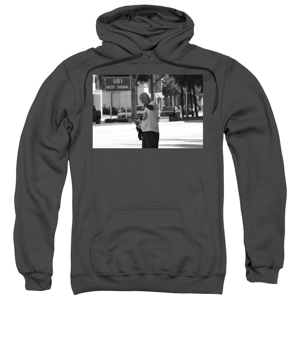 Black And White Sweatshirt featuring the photograph The Devil Man by Rob Hans