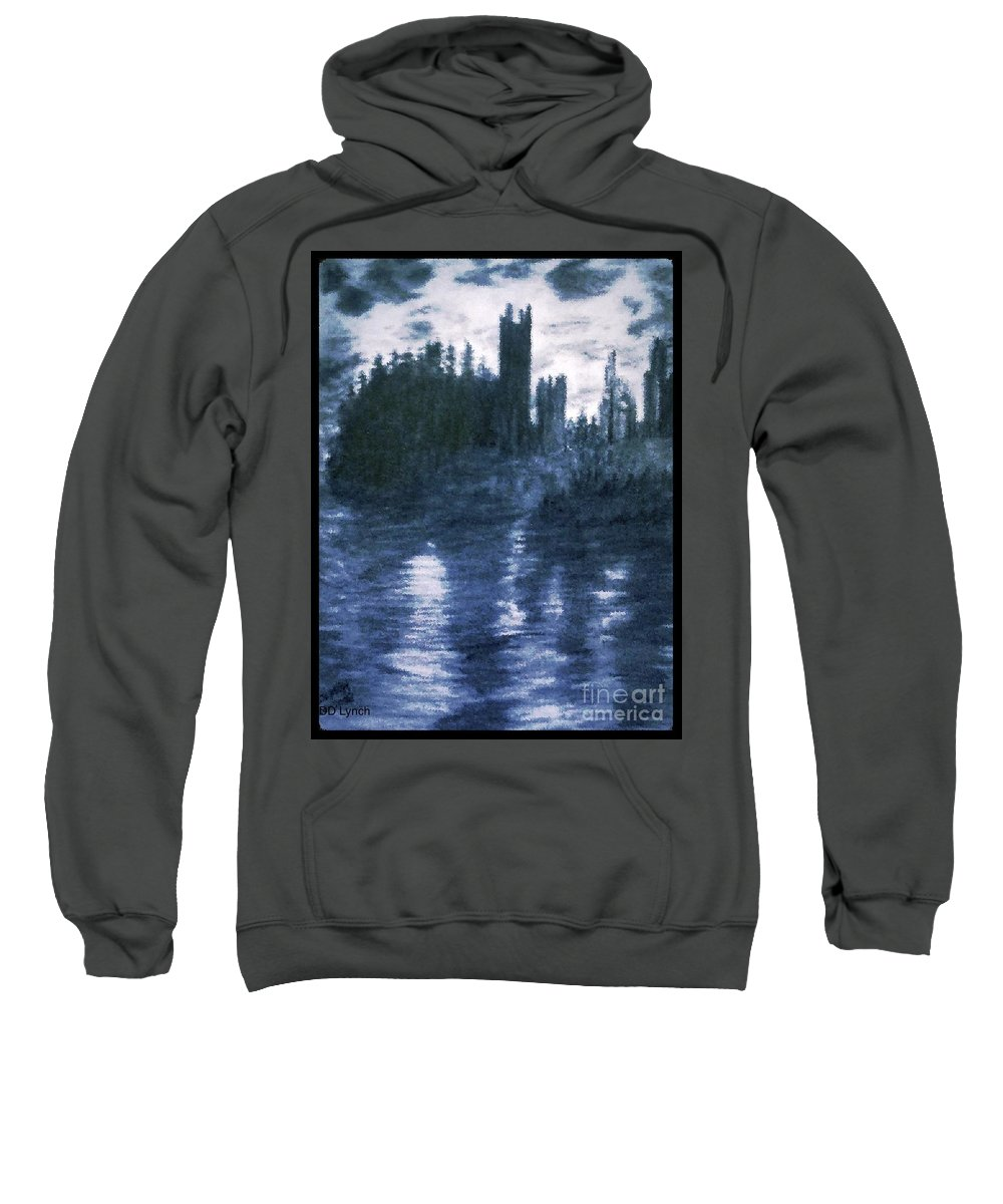Castles Sweatshirt featuring the drawing The Dolceacque Castle In Pencil by Debra Lynch