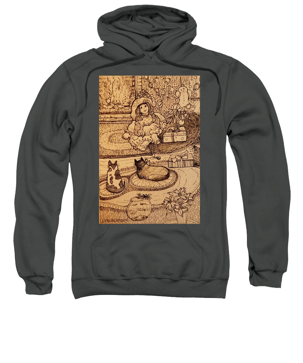 Doll Toys Gingerbread Boy Kittens Kitties Cats Drawing Play Whimsy Whimsical Christmas Tree Fireplace Hearth Fire Sweatshirt featuring the drawing The Doll, The Kitties And The Gingerbread Boy by Catherine Robertson