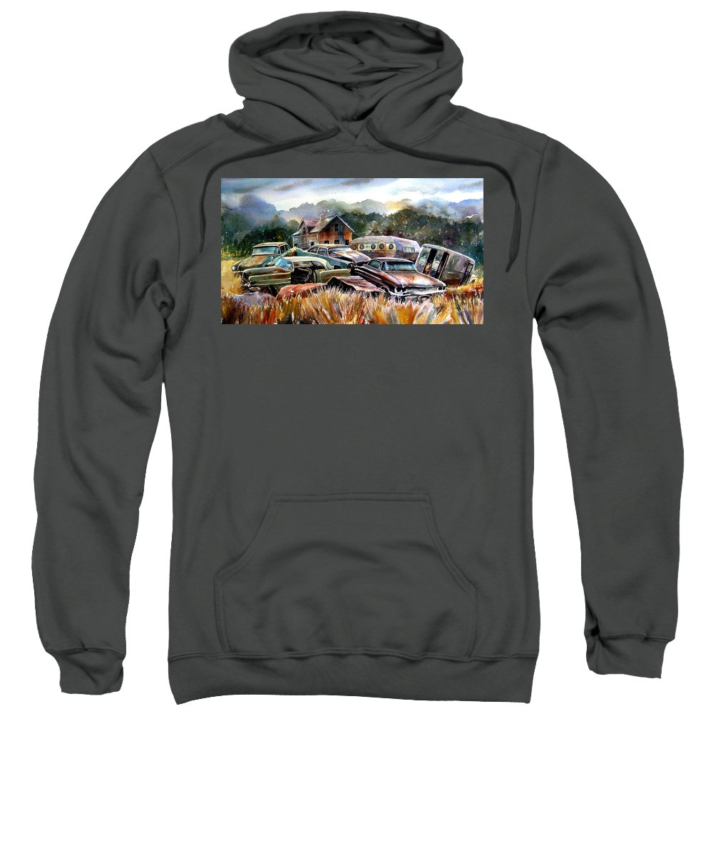 Old Wrecked Cars Sweatshirt featuring the painting The Donor Cars by Ron Morrison