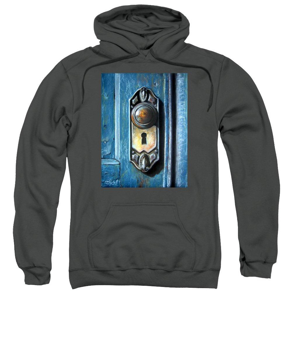 Door Knob Sweatshirt featuring the painting The Door Knob by Leyla Munteanu
