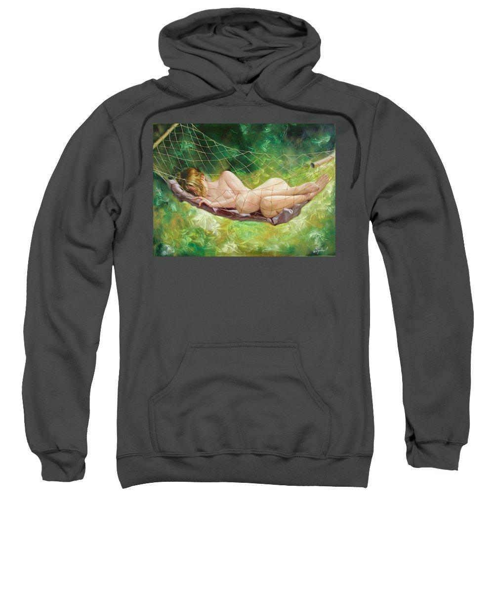 Oil Sweatshirt featuring the painting The dream in summer garden by Sergey Ignatenko