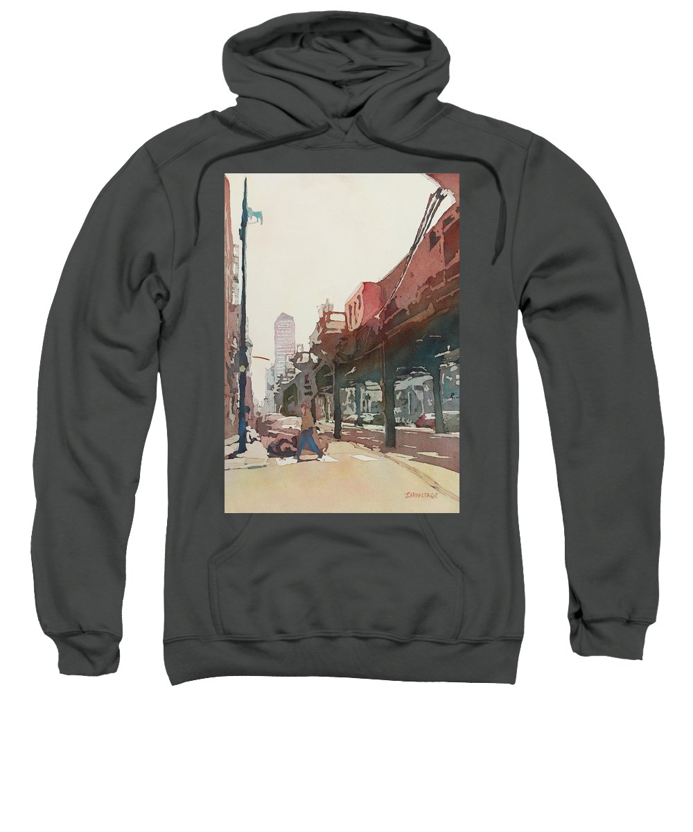 Downtown Sweatshirt featuring the painting The El by Jenny Armitage
