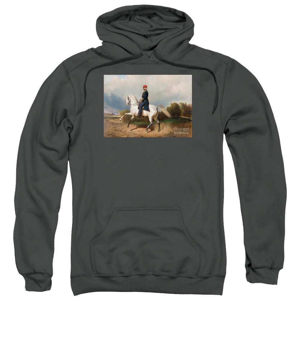 The Emperor Alexander Ii Of Russia Riding Schverskov 1872 Sweatshirt featuring the painting The Emperor Alexander by MotionAge Designs