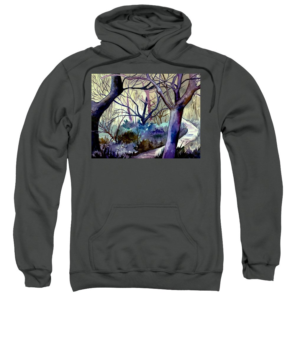 Watercolor Sweatshirt featuring the painting The Enchanted Path by Brenda Owen