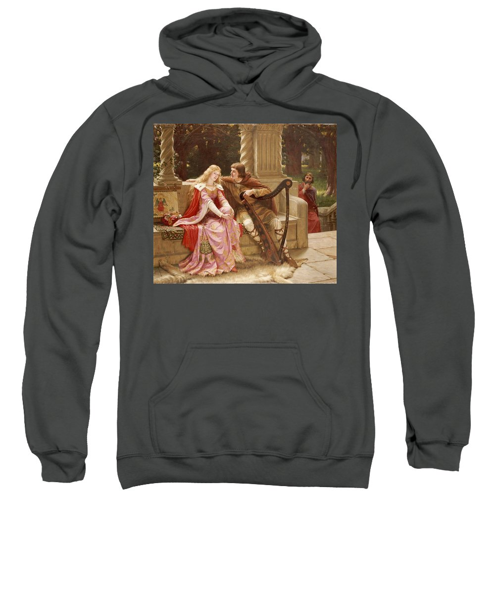 Valentine's Day Sweatshirt featuring the painting The End Of The Song by Edmund Blair Leighton