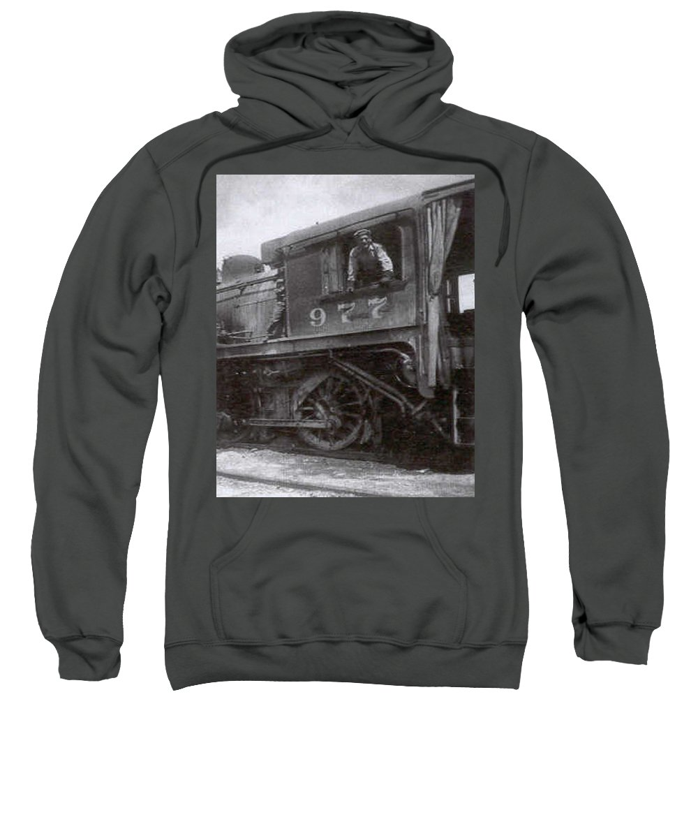 Old Photo Black And White Classic Saskatchewan Pioneers History Train Engineer Sweatshirt featuring the photograph The Engineer by Andrea Lawrence