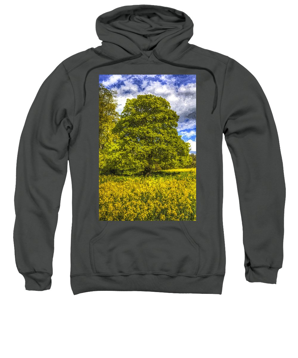 Oil Seed Rape Sweatshirt featuring the photograph The Farm Tree Art by David Pyatt