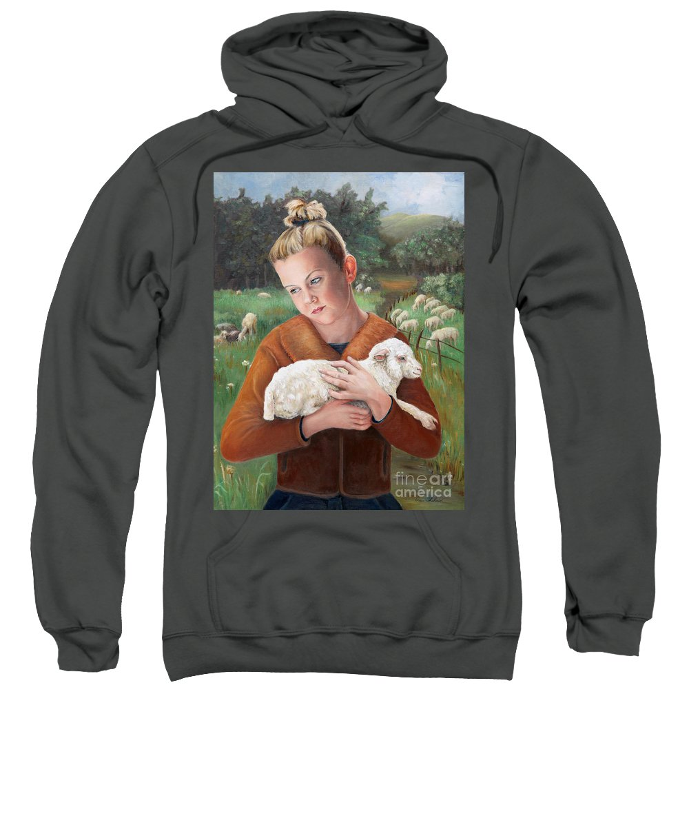 Easter Sweatshirt featuring the painting The Favorite by Portraits By NC