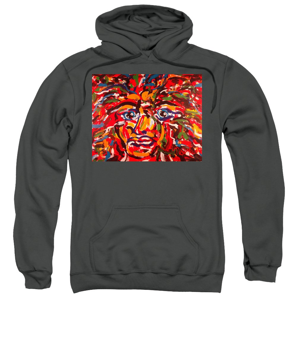Abstract Sweatshirt featuring the painting The Fearless Warrior by Natalie Holland