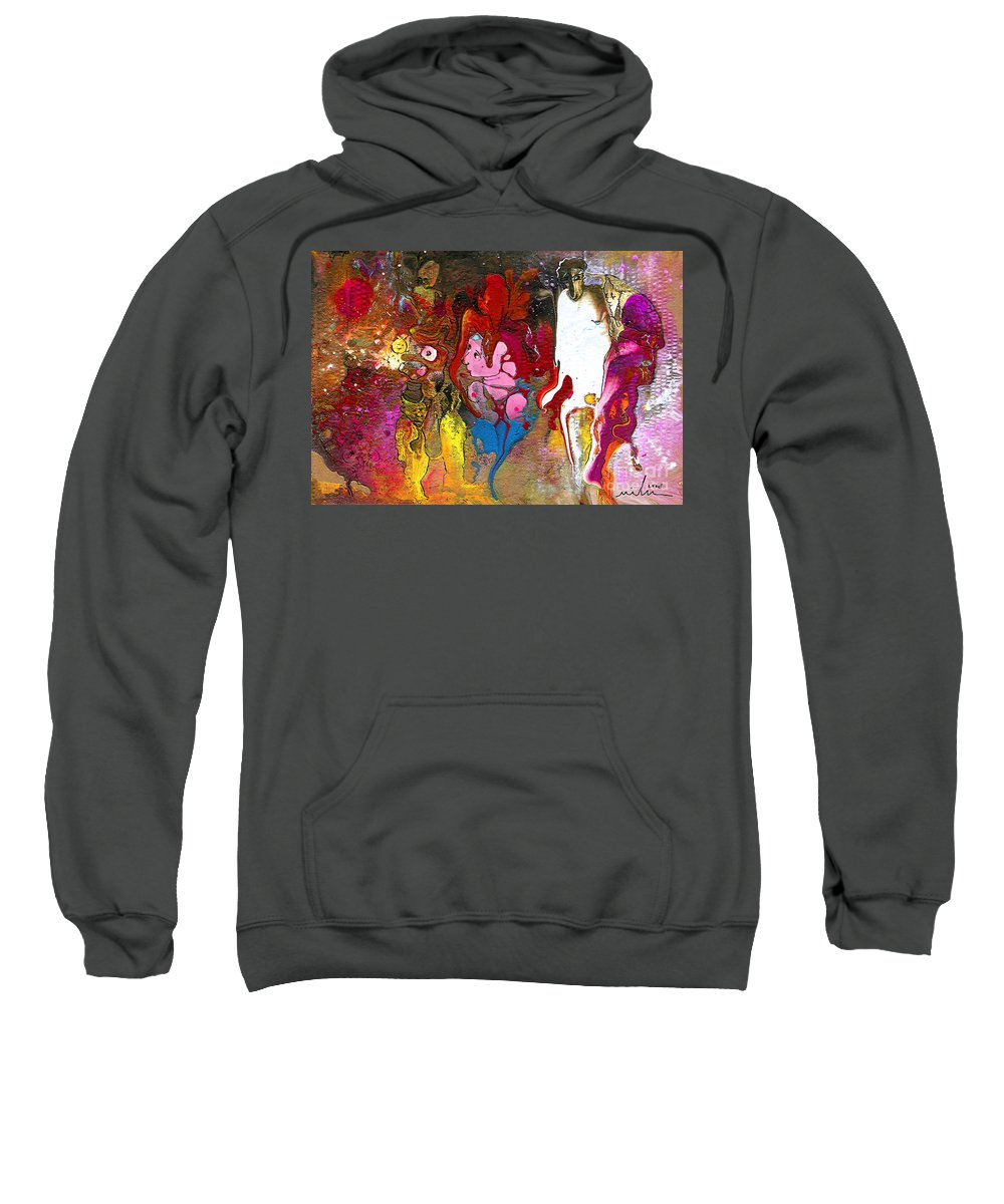 Miki Sweatshirt featuring the painting The First Wedding by Miki De Goodaboom