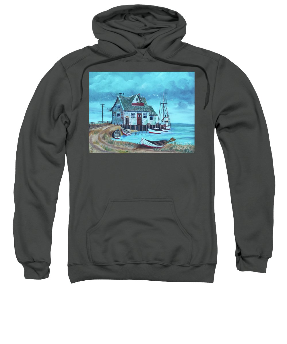 Shore Line Sweatshirt featuring the painting The Fish House by Betty McGregor