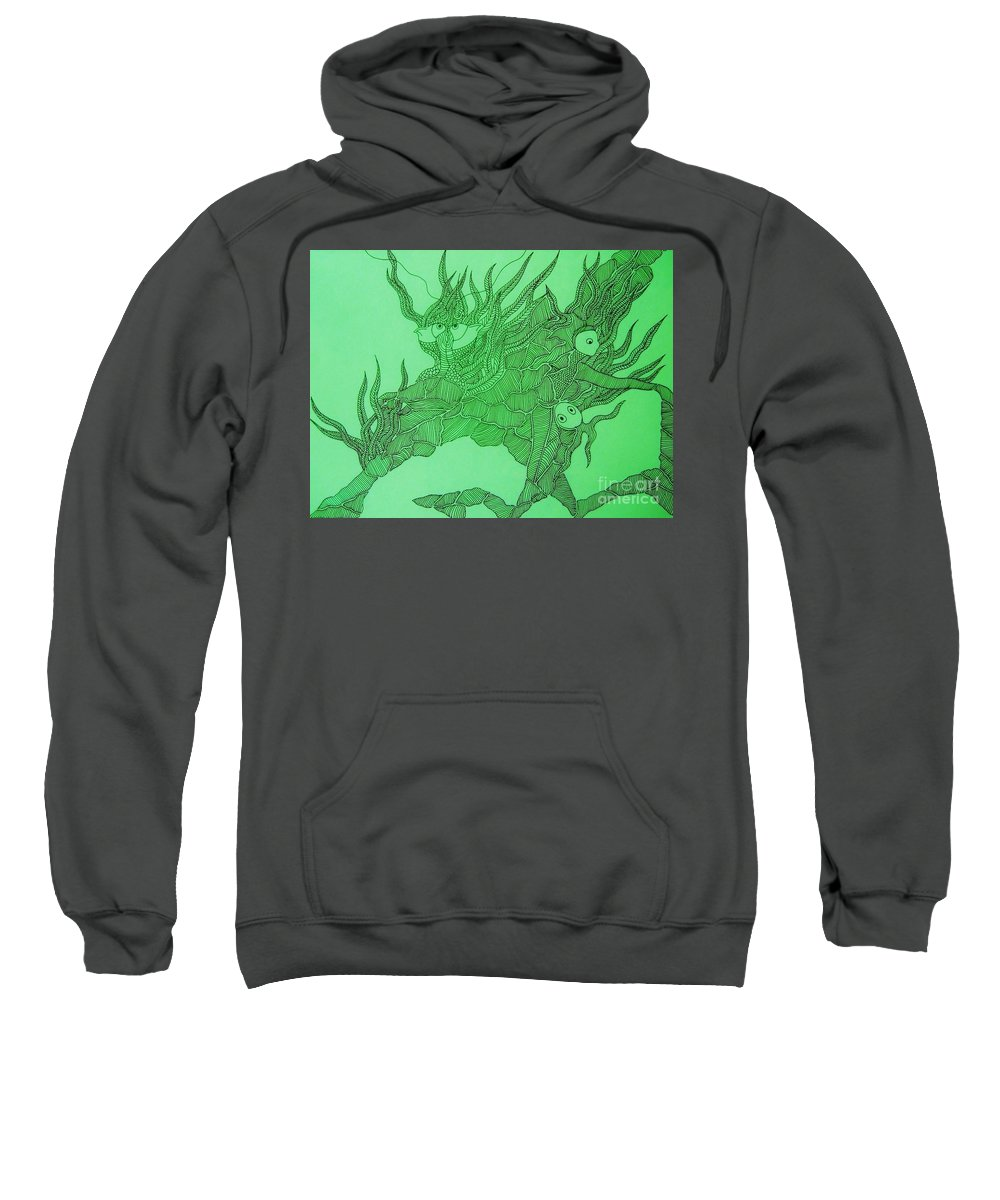 Fish Tank Sweatshirt featuring the drawing The Fish Tank by Reb Frost