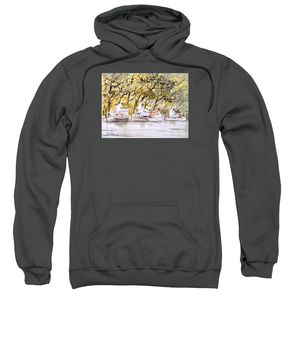 Fishing Sweatshirt featuring the painting The Fishing Party by Bill Holkham