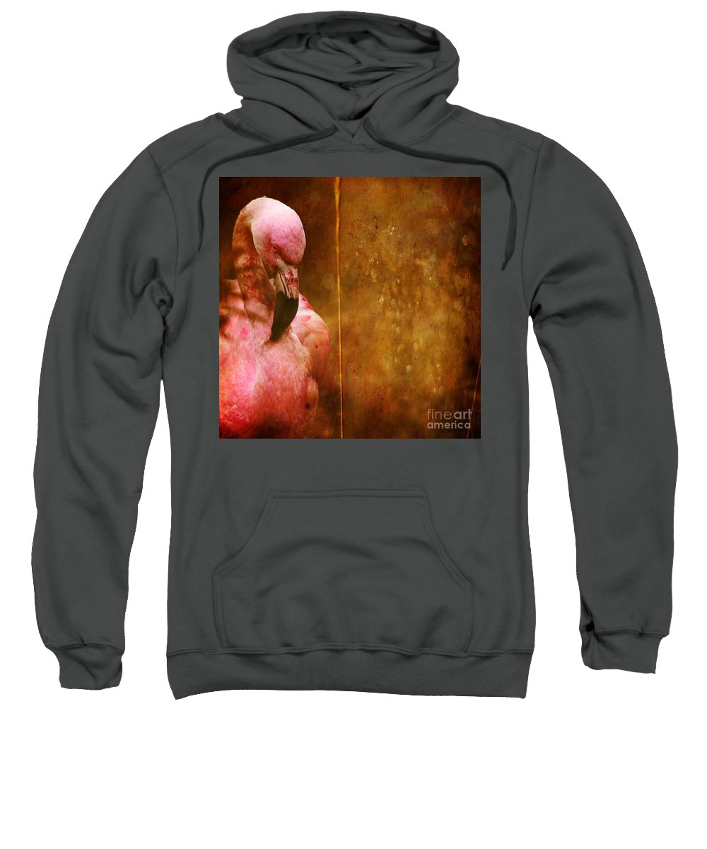 Flamingo Sweatshirt featuring the photograph The Flamingo by Angel Ciesniarska