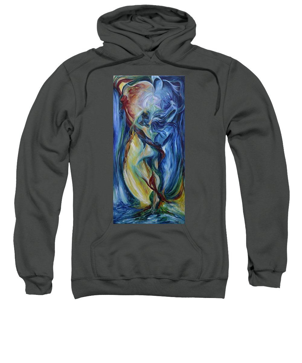 Flower Of Life Sweatshirt featuring the painting The Flower Of Life - Full Length by Jennifer Christenson