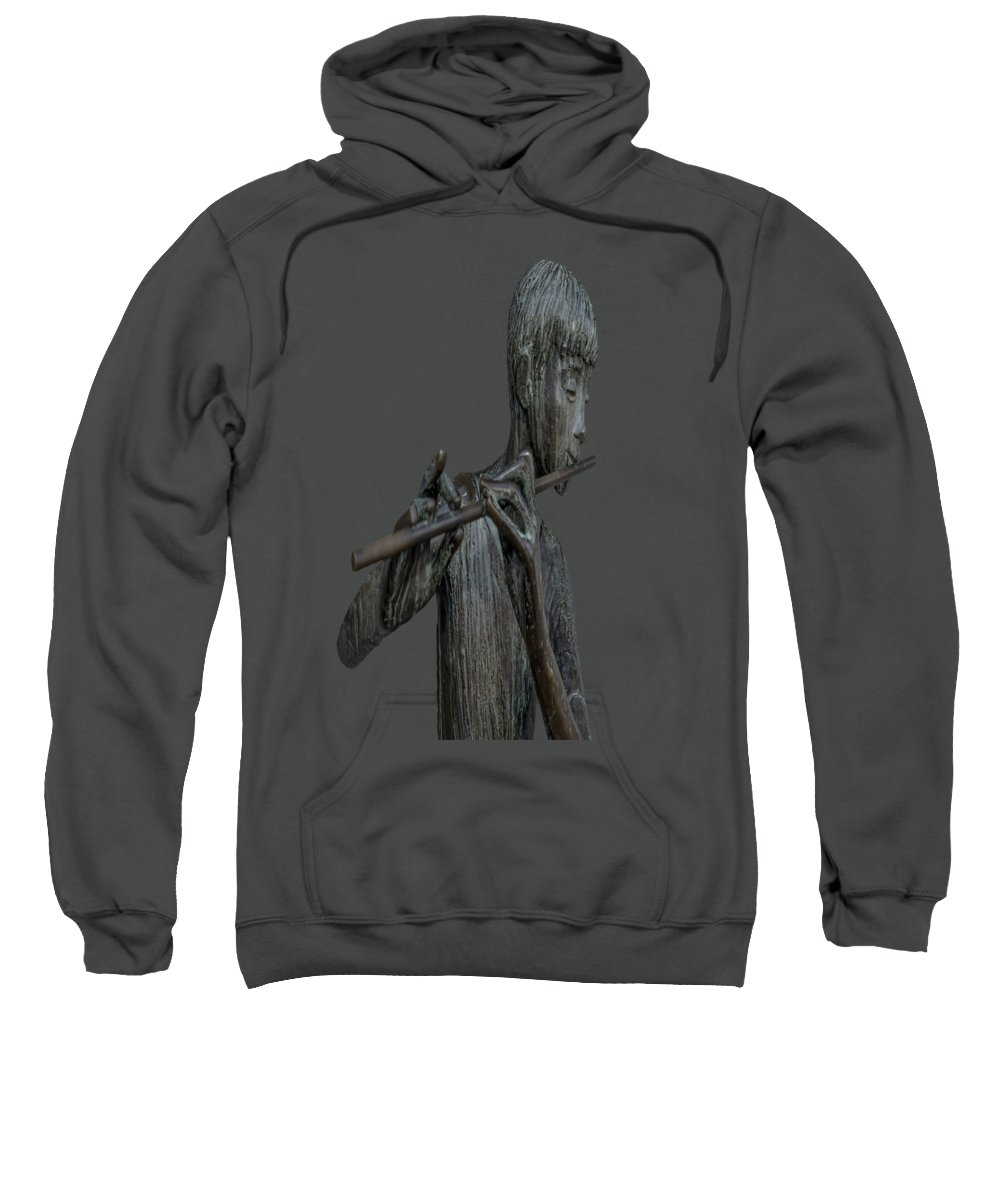 Flute Sweatshirt featuring the painting The Flute Player by David Dehner