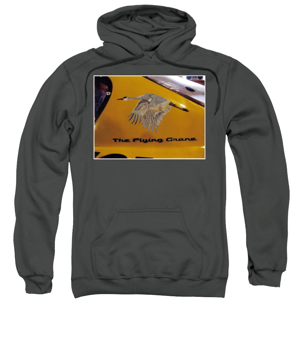Nascar Sweatshirt featuring the painting The Flying Crane by Richard Le Page