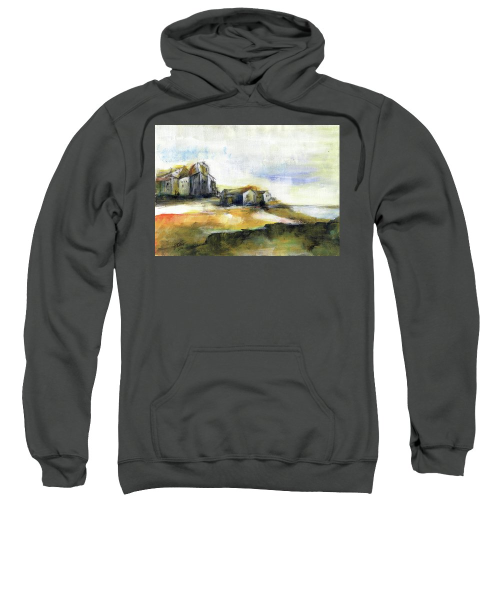 Abstract Landscape Sweatshirt featuring the painting The Fortress by Aniko Hencz