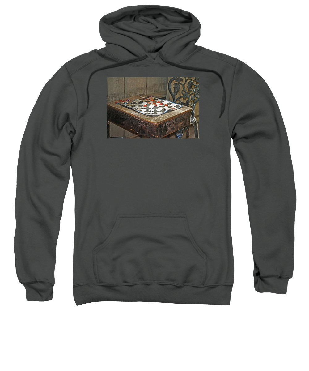 Checkers Sweatshirt featuring the photograph The Game Never Stops by Joy Franks