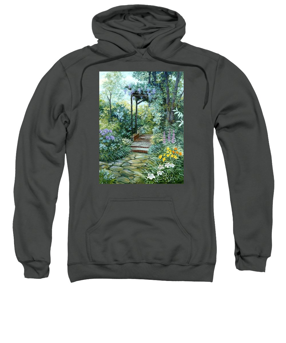 Oil Painting;wisteria;garden Path;lilies;garden;flowers;trellis;trees;stones;pergola;vines; Sweatshirt featuring the painting The Garden Triptych Right Side by Lois Mountz