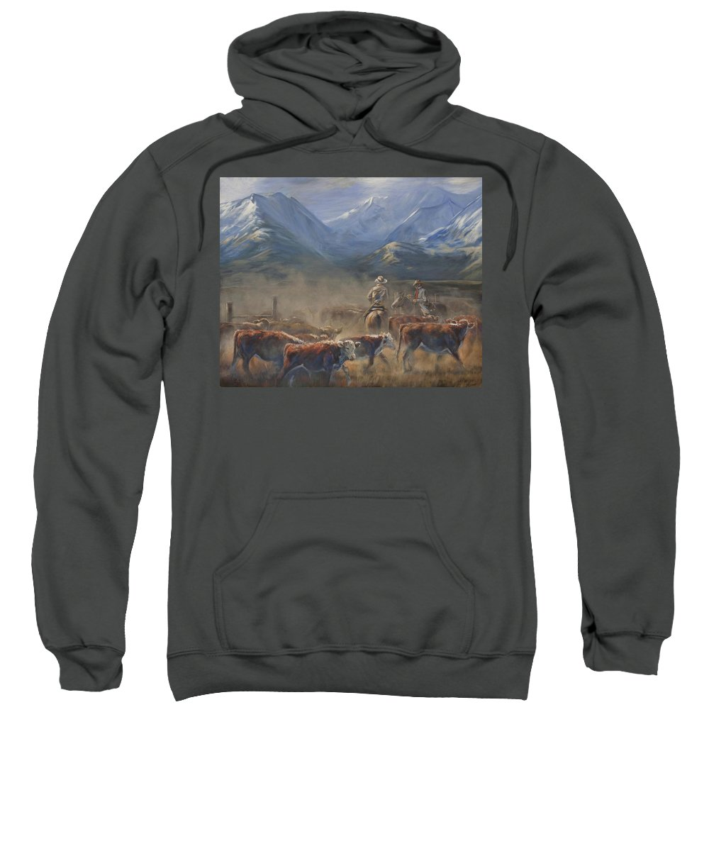 Cowboys Sweatshirt featuring the painting The Gate Tally by Mia DeLode