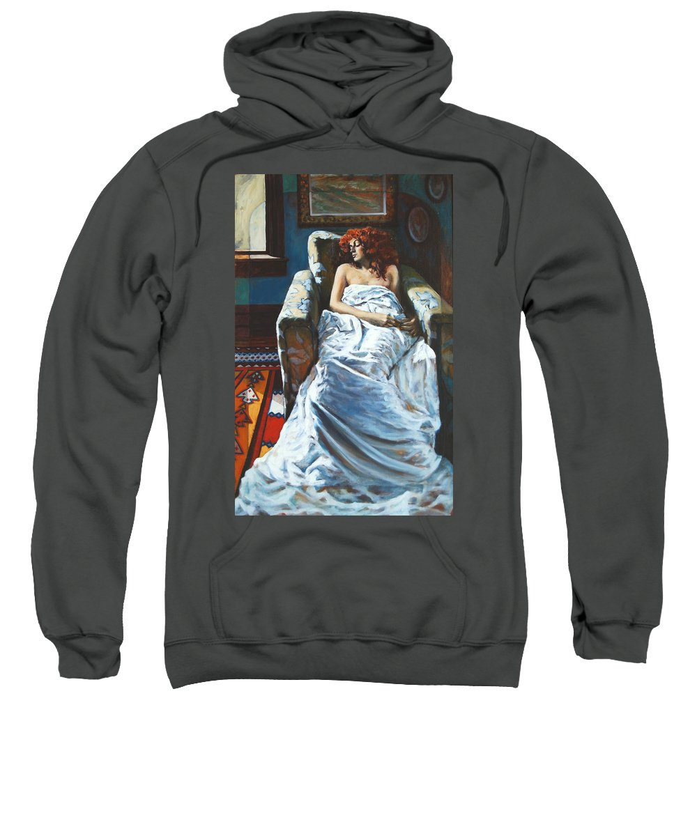 Window Sweatshirt featuring the painting The Girl In The Chair by Rick Nederlof