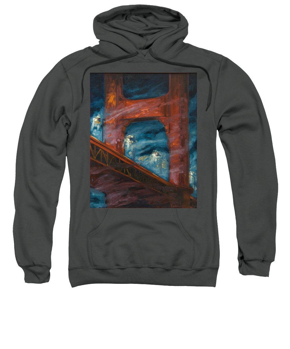 Bridge Sweatshirt featuring the painting The Golden Gate by Rick Nederlof