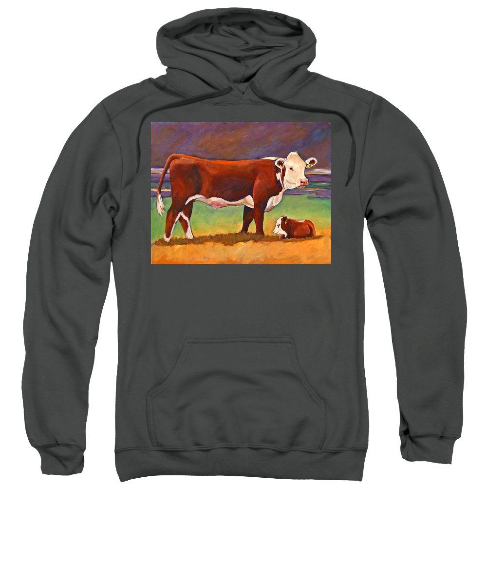 Folk Art Sweatshirt featuring the painting The Good Mom Folk Art Hereford Cow And Calf by Toni Grote