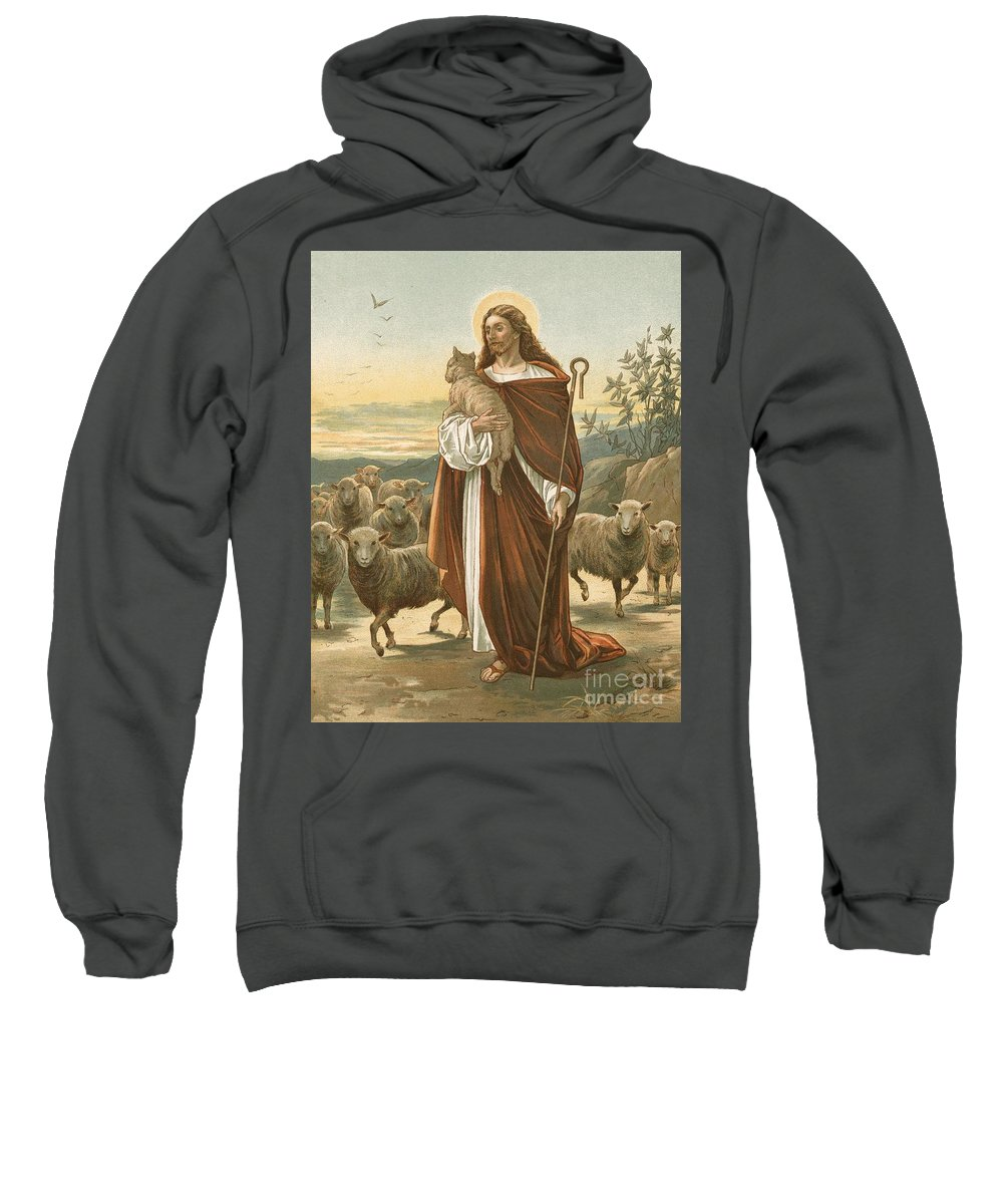 Bible; The Good Shepherd; Jesus Christ; Sheep; Halo; Crook Sweatshirt featuring the painting The Good Shepherd by John Lawson