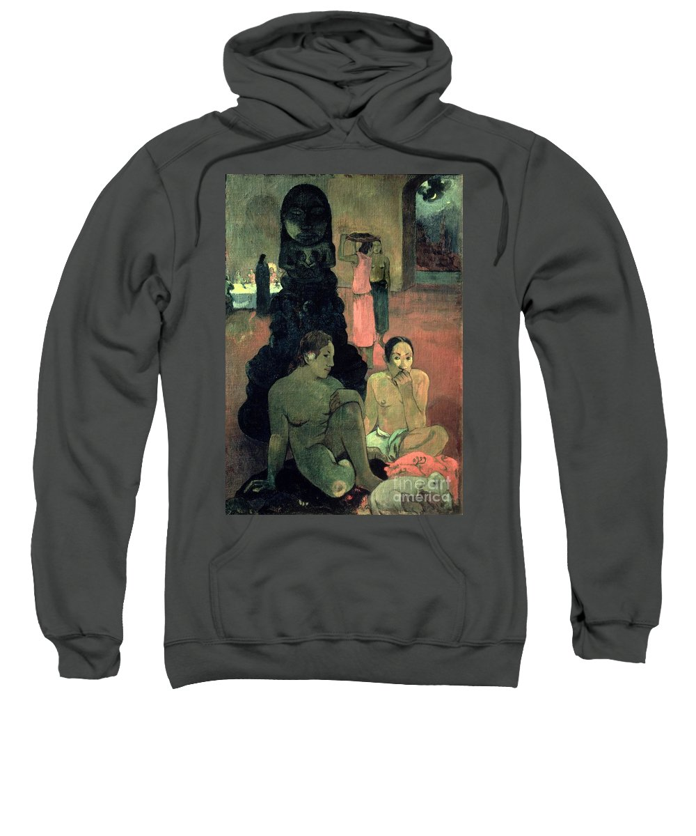 The Great Buddha Sweatshirt featuring the painting The Great Buddha by Paul Gauguin