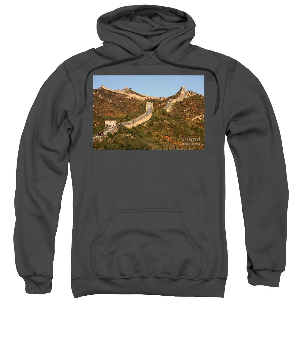 The Great Wall Of China Sweatshirt featuring the photograph The Great Wall On Beautiful Autumn Day by Carol Groenen