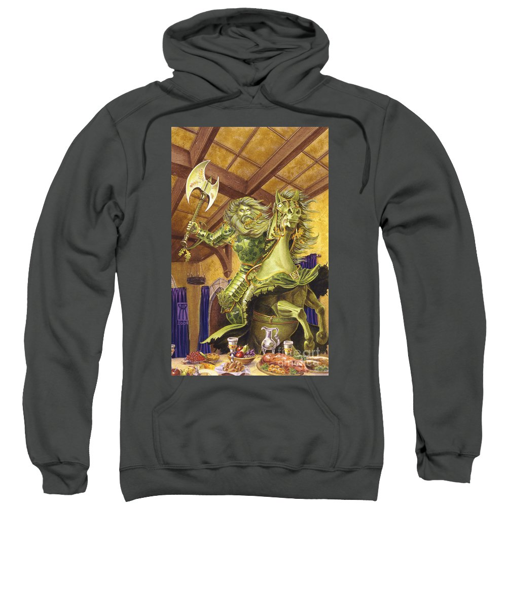 Fine Art Sweatshirt featuring the painting The Green Knight by Melissa A Benson