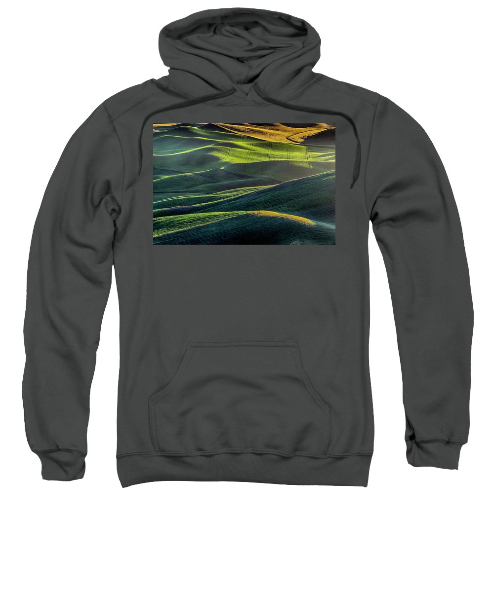 Agriculture Sweatshirt featuring the photograph The Green Waves Of Palouse Wa Dsc05032 by Greg Kluempers