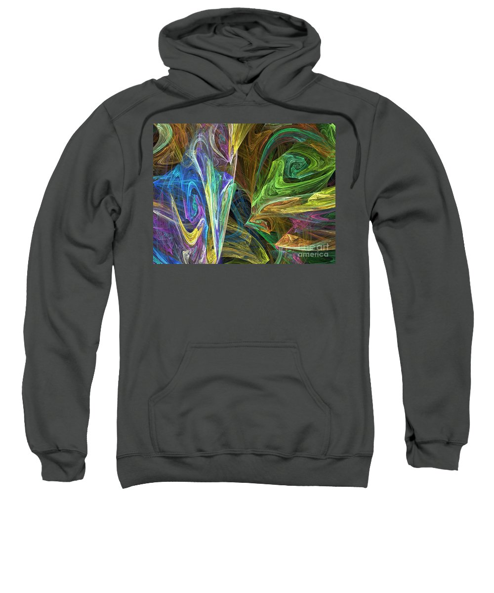 Fractals Sweatshirt featuring the digital art The Groove by Richard Rizzo