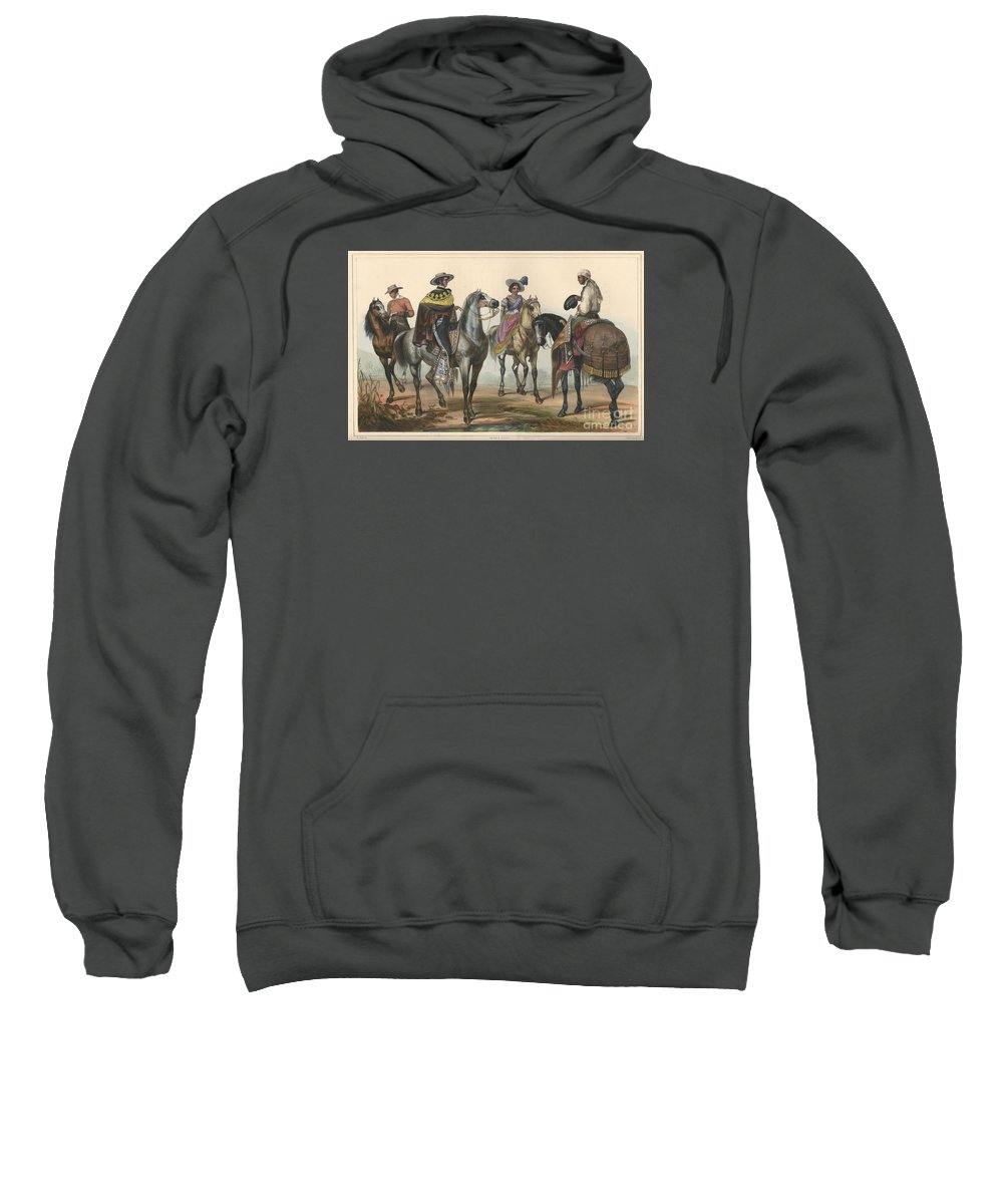 (the Hacendero And His Butler). Painting By Carl Nebel Sweatshirt featuring the painting The Hacendero And His Butler by Carl Nebel
