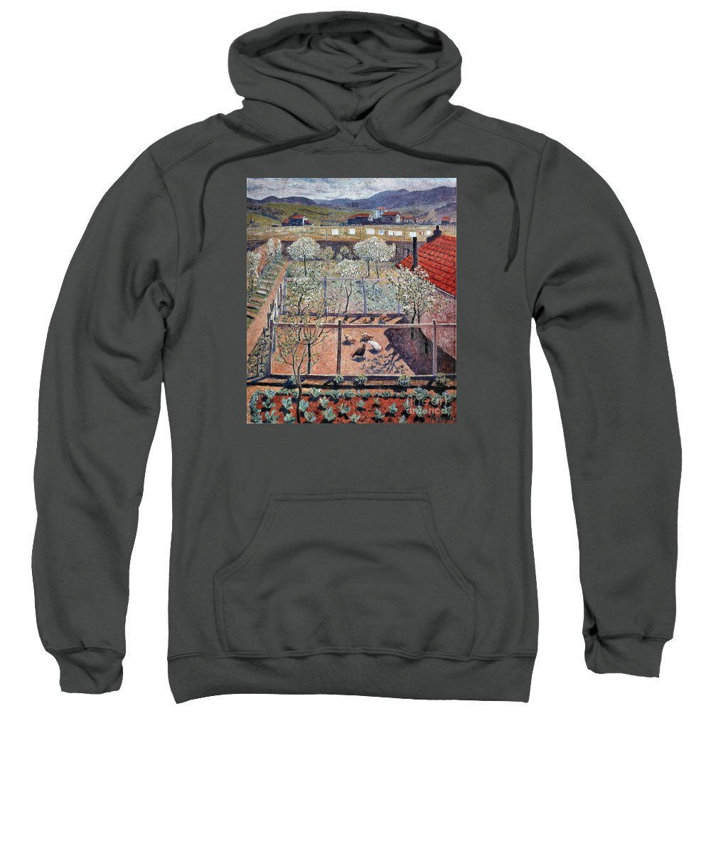 The Henhouse (1912) Sweatshirt featuring the painting The Henhouse by MotionAge Designs