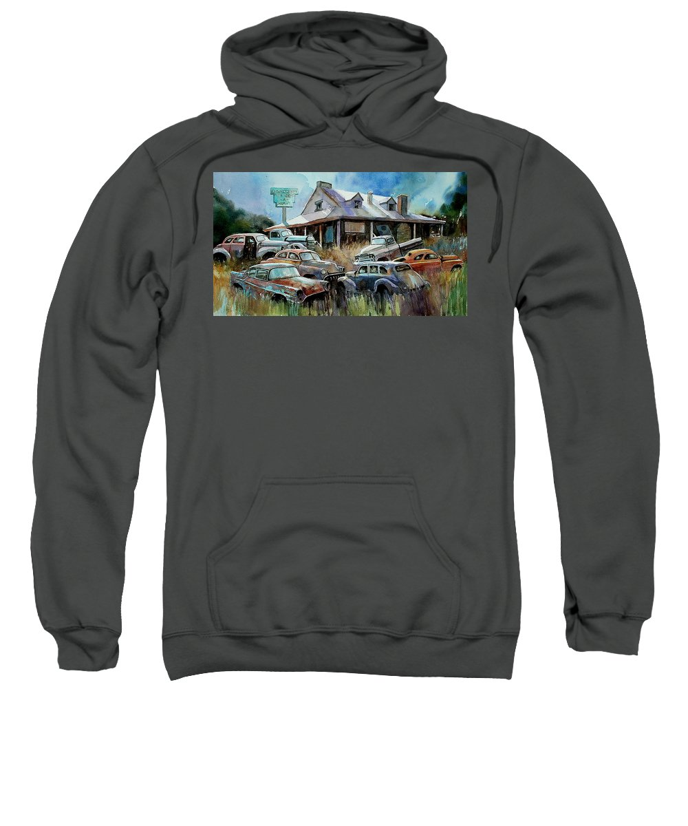 Cars House Rust Sweatshirt featuring the painting The Hideaway Of Miss Dish Kreshin by Ron Morrison