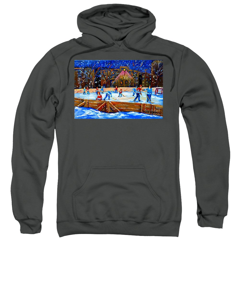 Snow Sweatshirt featuring the painting The Hockey Rink by Carole Spandau