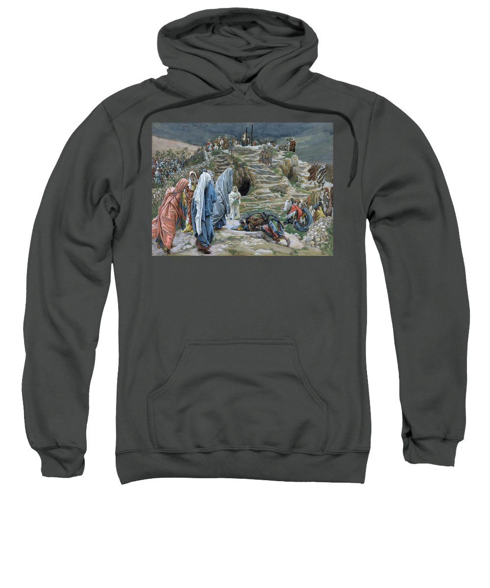 Tissot Sweatshirt featuring the painting The Holy Women Stand Far Off Beholding What Is Done by James Jacques Joseph Tissot